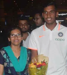 Atharva with his mother